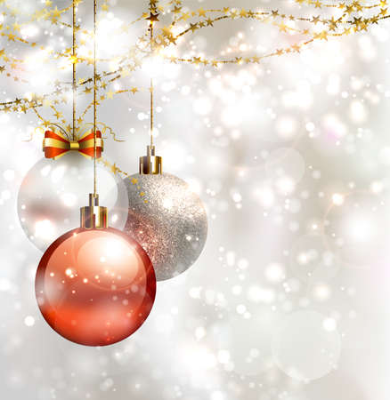 christmas wishes: light Christmas background with three evening balls
