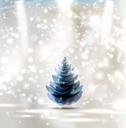 winter theater: Christmas Stage Spotlight with good-looking Christmas tree  Illustration