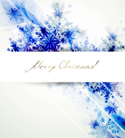 winter season: Christmas background with abstract blue snowflakes