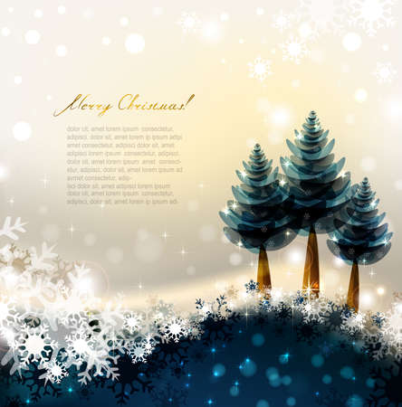 three wishes: Shiny Christmas background with three fir-trees