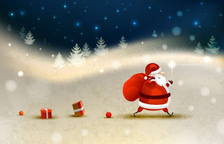 Santa Claus on the Winter landscape  Vector