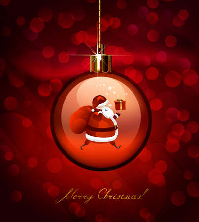 evening ball: red Christmas evening ball with Santa Claus
