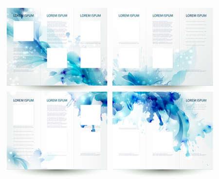 抽象的なパンフレット背景の青の要素  イラスト・ベクター素材