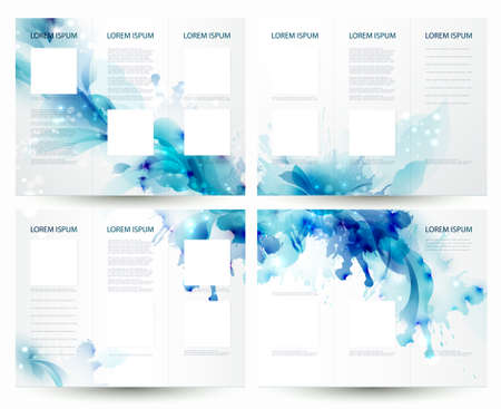 Brochure backgrounds with Abstract blue elements  Çizim