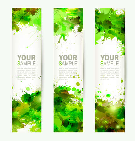 Set of three headers  Abstract artistic Backgrounds of green colors  向量圖像