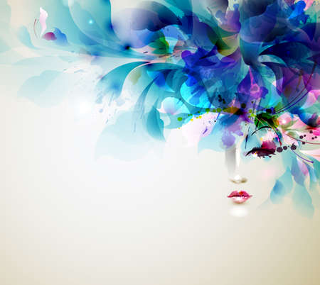 Beautiful abstract women with abstract design elements Illusztráció