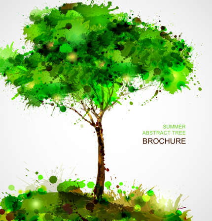 nature abstract: Green abstract tree forming by blots