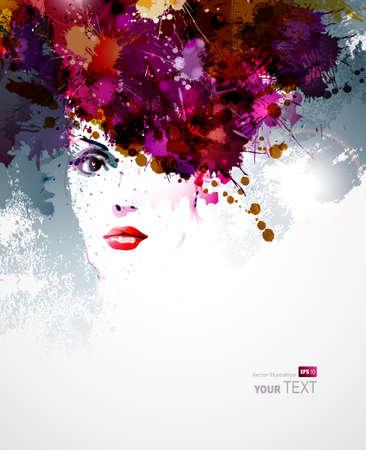 抽象的な: 女性顔と抽象的なデザイン要素  イラスト・ベクター素材