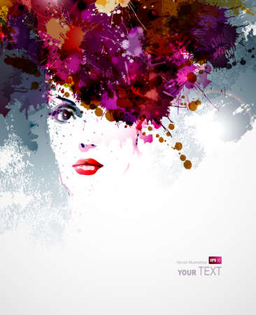 red head woman: abstract design elements with woman face