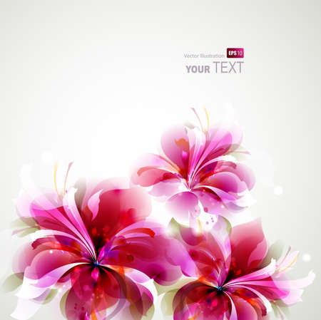 Tender background with growing abstract flowers  Illustration