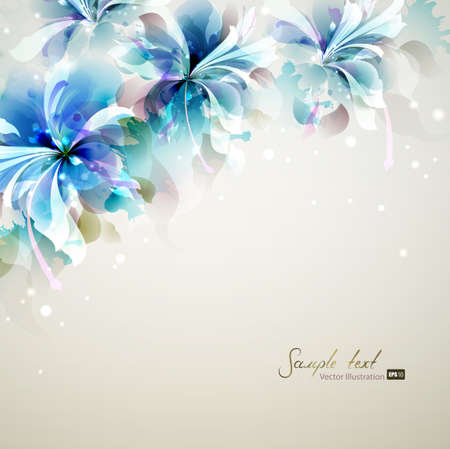 blended: Tender background with blue abstract flowers in the corner