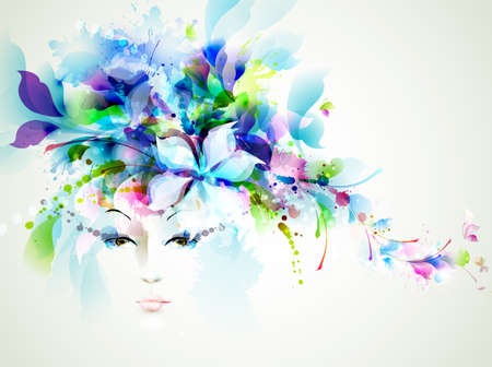 Beautiful fashion women face with abstract design elements  向量圖像