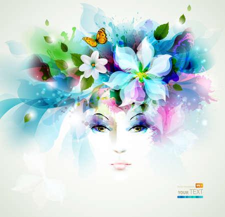 Schöne Mode Frauen Gesicht mit natürlichen Elementen, Blumen und Schmetterlinge