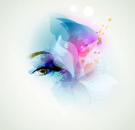 ojos hermosos: Hermosa mujer de moda visual con elementos de diseño