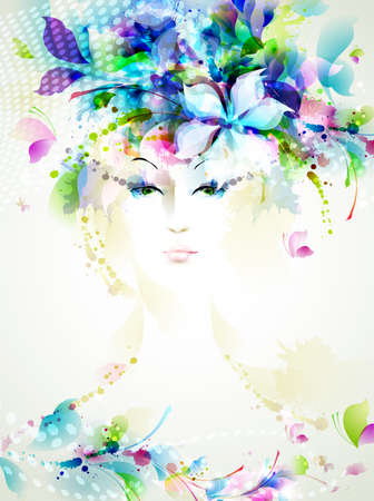 Beautiful fashion women with summer design elements  Vector