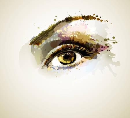 olhos castanhos: Olho bonito formando por borr