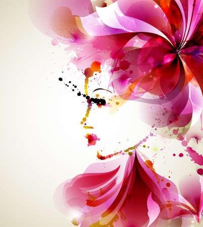 抽象的な髪やデザイン要素を持つ美しいファッション女性