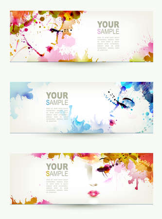 make up woman: Beautiful abstract women faces on three headers  Illustration