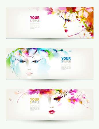 美しい女性の顔に 3 つのヘッダー  イラスト・ベクター素材