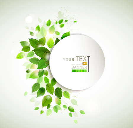 banner with fresh green leaves Vector