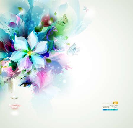 Belle donne moda faccia con gli elementi naturali, fiori e farfalle