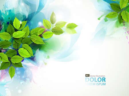 新鮮な緑の葉とバナー  イラスト・ベクター素材