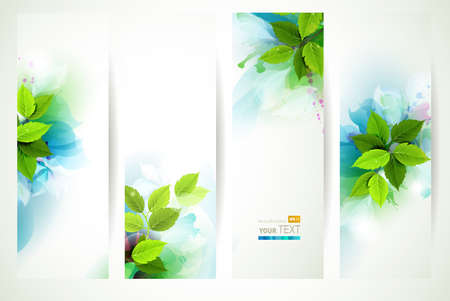 green leaf: headers with fresh green leaves  Illustration