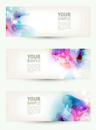cyan: set of three banners, abstract headers with blue and pink blots