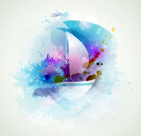 sailboat at sea with waves of blots  Illustration