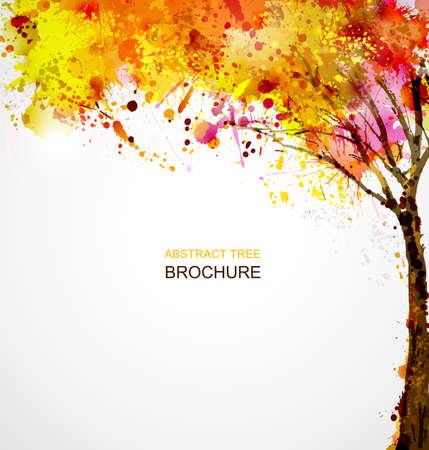 秋の抽象的な木のしみによって形成