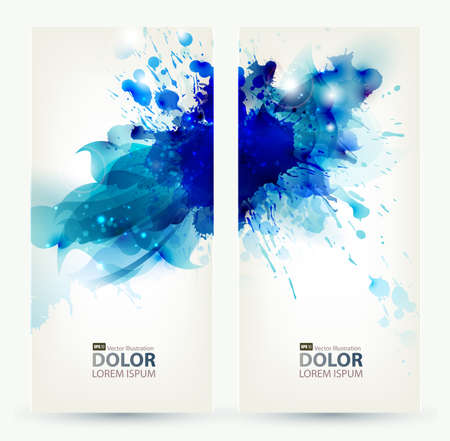 set of two banners, abstract headers with blue blots