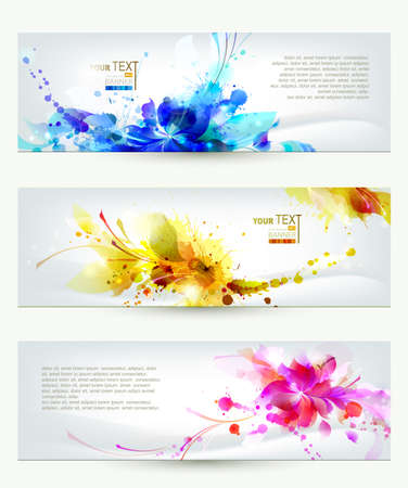 floral print: Set of three headers  Abstract artistic Backgrounds