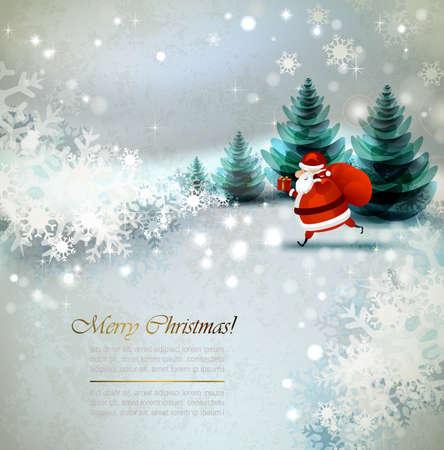 papa noel: Papá Noel en el paisaje de invierno Vectores