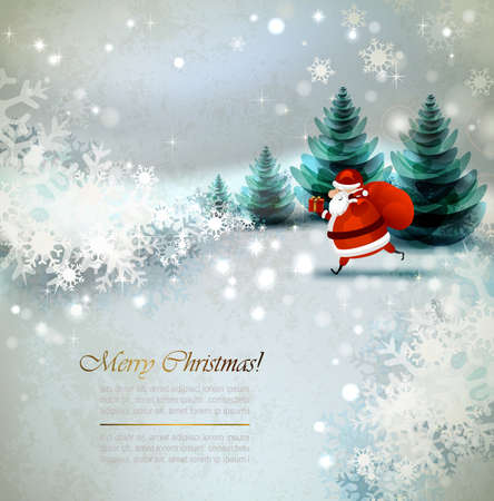 christmas backdrop: Santa Claus on the Winter landscape  Illustration