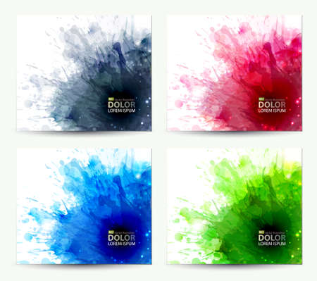 set of abstract artistic element forming by blots