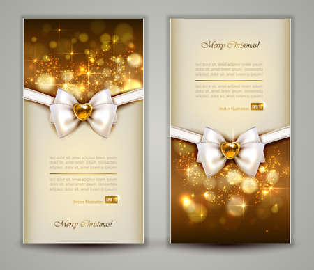 Two elegant Christmas greeting cards with bow and jewelry   向量圖像