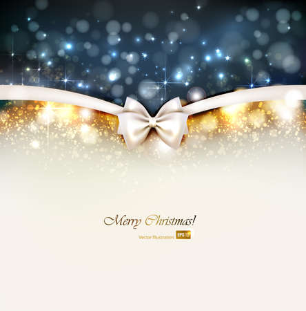 silver ribbon: Christmas background with bow