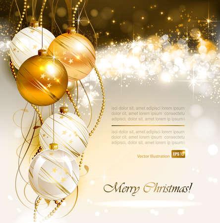 or blanc: fond lumineux de Noël avec de l'or et des boules blanches de soirée Illustration
