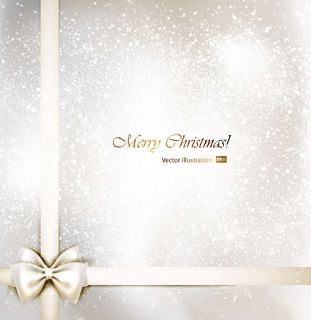 christmas invitation: white Christmas background with bow