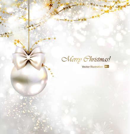 evening ball: light Christmas background with light evening ball