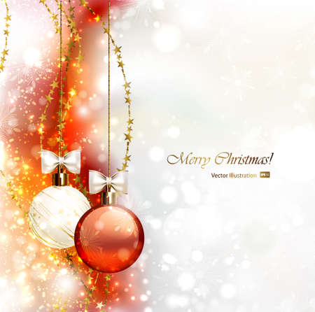 Christmas background with two Christmas baubles Vector