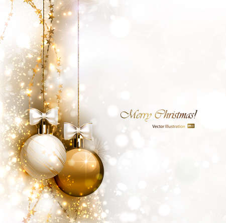 festive season: Christmas background with two Christmas baubles