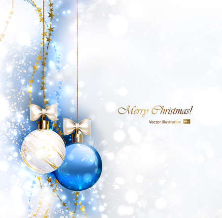 glimmered: Blue Christmas background with two Christmas baubles  Illustration