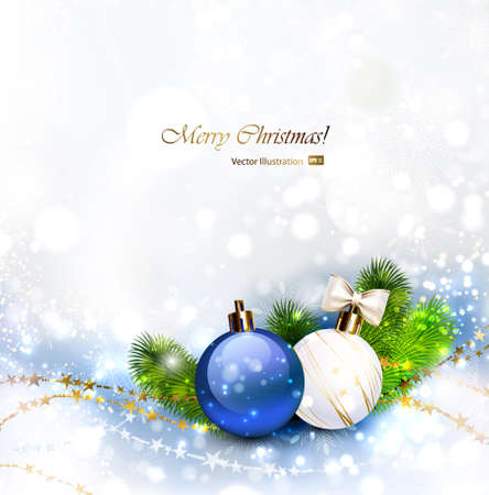 glimmered: Christmas background with baubles and branches of fir tree