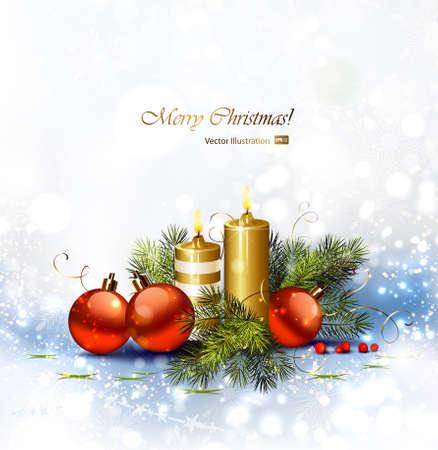 velas de navidad: Fondo de Navidad con velas encendidas y chucher�a de Navidad Vectores