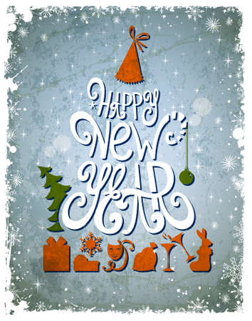 greetingcard: Fir tree forming from letters  Happy New Year old greeting-card