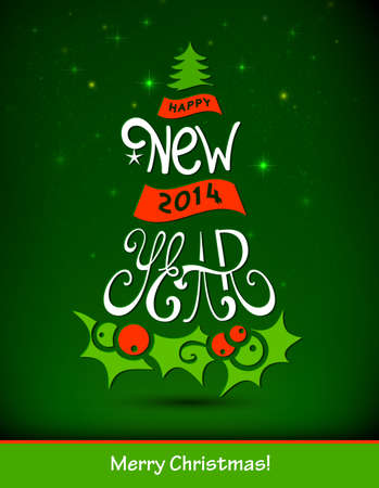 Fir tree forming from letters  Happy New Year   Stock Vector - 25117897