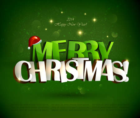 christmas eve: Merry Christmas inscription and Santa Claus with gifts