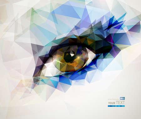 utworzonych: kobieta oko stworzona z wielokątów Ilustracja