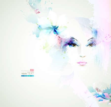 아름다운 유행 여자 자연 요소와 꽃과 얼굴